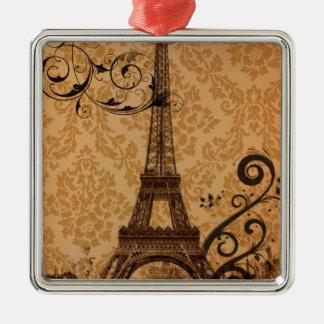 Vintager Damast böhmischer Turm Chic-Paris Eiffel Quadratisches Silberfarbenes Ornament