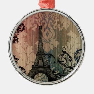 Vintager Damast böhmischer Turm Chic-Paris Eiffel Rundes Silberfarbenes Ornament