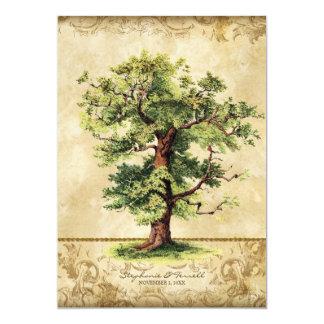 Vintager Eichen-Baum des 12,7 X 17,8 Cm Einladungskarte