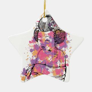 Vintager Entwurf des chinesischen Mädchens Keramik Stern-Ornament