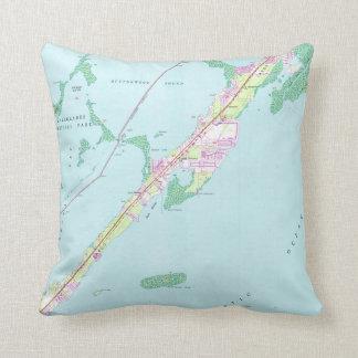 Vintager Felsen-Hafen Florida Map (1947) Kissen