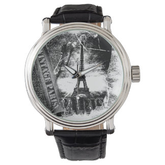 Vintager Franzose-Eiffel-Turm Paris 2 Uhr
