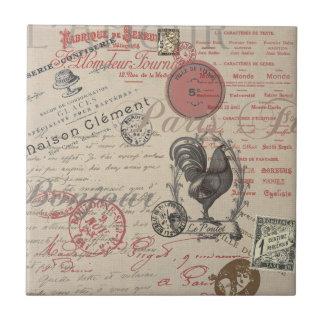 Vintager französischer Handschrifts-Paris-Hahn Kleine Quadratische Fliese