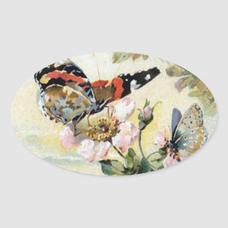 Vintager Frühlings-Schmetterlings-Blumen-Aufkleber Ovaler Aufkleber