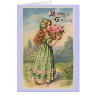Vintager Geburtstag der viktorianischen Mädchen-Ro Grußkarte