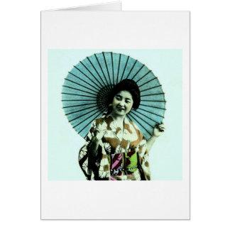 Vintager Geisha und ihr Sonnenschirm altes Japan Karte