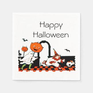 Vintager Geist-Clown scherzt Halloween-Party Serviette