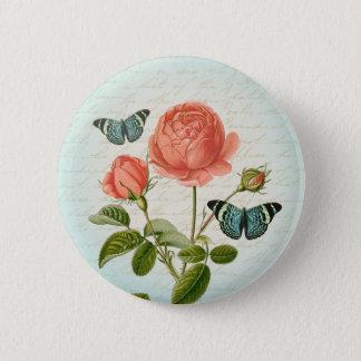 Vintager girly mit Blumenknopf der Rose u. des Runder Button 5,7 Cm