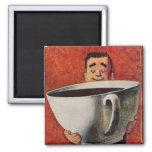 Vintager glücklicher Mann, der riesige Schale Kaff Kühlschrankmagnete