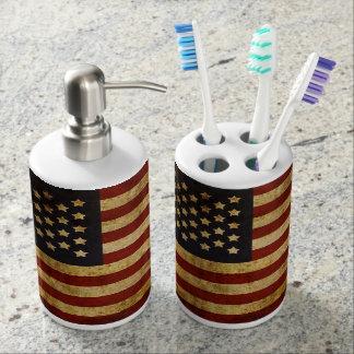Vintager Grunge patriotische amerikanische Flagge Badsets