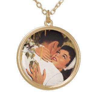 Vintager Hochzeit Antrag, Liebe und Romance Halskette Mit Rundem Anhänger