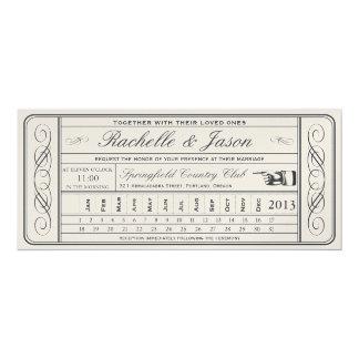 Vintager Hochzeits-Karteii Punchout golden 10,2 X 23,5 Cm Einladungskarte