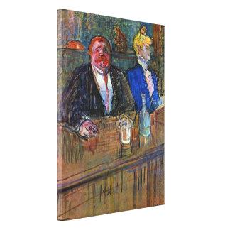 Vintager Impressionismus, das Bar durch Toulouse Leinwanddruck