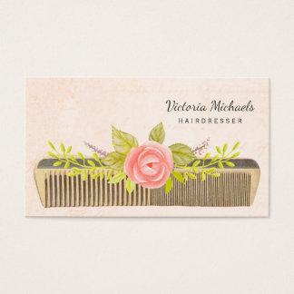 Vintager Kamm und Rosen für eleganten Friseur Visitenkarte