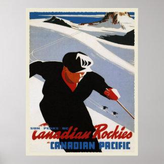 Vintager Kanadierrockies-Ski-Druck Poster