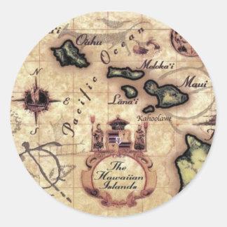 Vintager Kartendruck der hawaiischen Inseln Runder Aufkleber