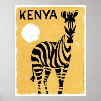 Vintager Kenia Afrika Zebra Poster