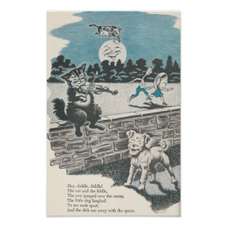Vintager Kinderzimmer-Reim he Diddle Diddle Poster