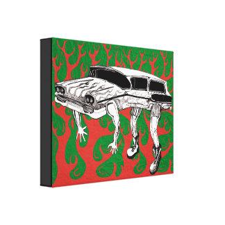 Vintager Kombiwagen mit Flammen-Grafik Gespannte Galeriedrucke