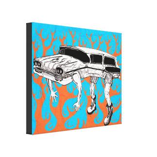 Vintager Kombiwagen mit Flammen-Grafik Leinwanddruck