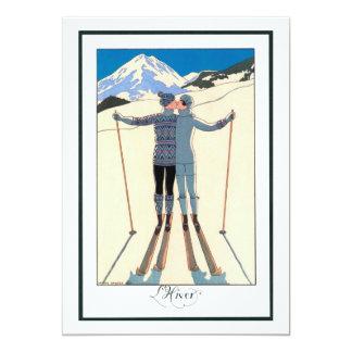 Vintager Kunst-Deko, Liebhaber im Schnee durch 12,7 X 17,8 Cm Einladungskarte