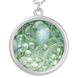 Vintager Lalique Glasvogel-Vasen-hängendes Versilberte Kette
