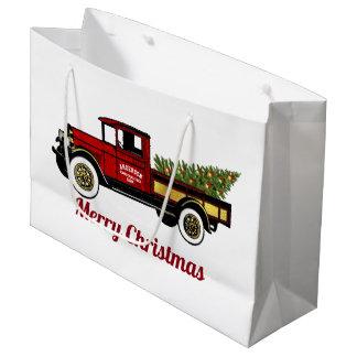 Vintager LKW Ihr Weihnachtsbaum-Bauernhof Große Geschenktüte