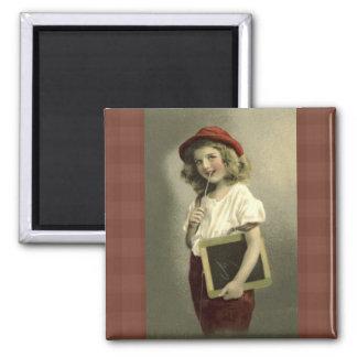 Vintager Mädchen-SchultagesKühlschrankmagnet Quadratischer Magnet