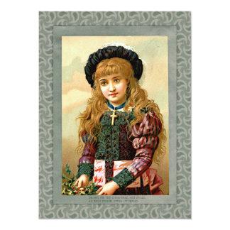 Vintager Mädchen-Weihnachtsgruß 14 X 19,5 Cm Einladungskarte