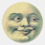 Vintager Mann in den Mondaufklebern