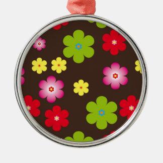 Vintager mit Blumenhintergrund Rundes Silberfarbenes Ornament