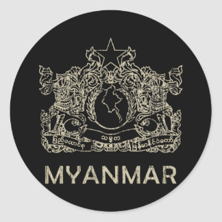 Vintager Myanmar Runder Aufkleber