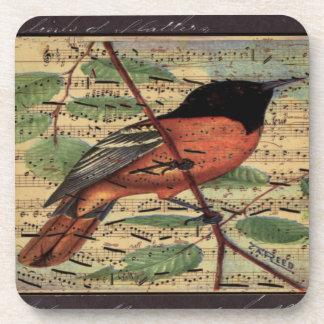 Vintager Oriole auf Musik Getränkeuntersetzer