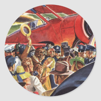 Vintager Pilot, Frau und Flugzeug mit Paparazzi Runder Aufkleber