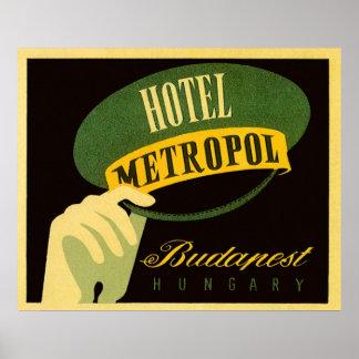 Vintager Reise-Budapest Ungarn Bellhop-Hut Poster