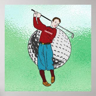 Vintager Retro Golf-Spieler mit Golf-Verein und Poster