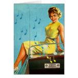 Vintager Retro Kitsch-50er Rock-and-Rollradio Grußkarte