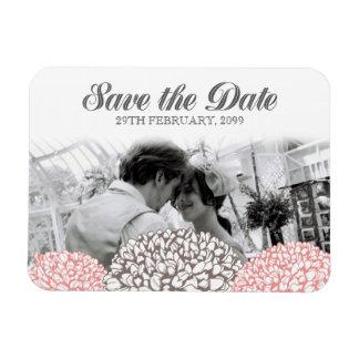 Vintager rosa Blumen-Save the Date flexibler Vinyl Magnet