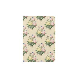 Vintager Rosen-Blumenmuster-Passmit blumenhalter Passhülle