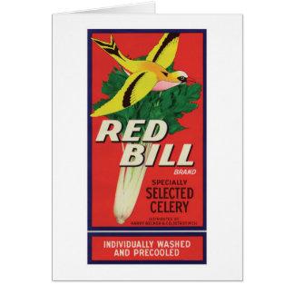 Vintager roter Bill-Sellerie-Aufkleber Mitteilungskarte