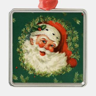 Vintager Sankt und KieferWreath Quadratisches Silberfarbenes Ornament