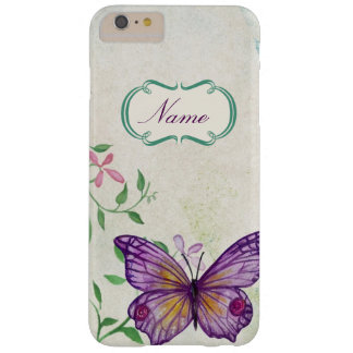 Vintager Schmetterling mit Blumen Barely There iPhone 6 Plus Hülle