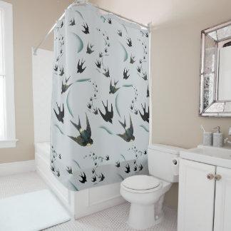 Vintager Schwalben-Vogel-Kunst-Duschvorhang Duschvorhang
