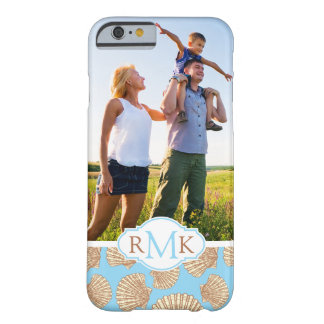 Vintager Seashell Pattern| Ihr Foto u. Monogramm Barely There iPhone 6 Hülle