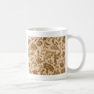 Vintager Sepia-Blumenmuster-Entwurf Kaffeetasse