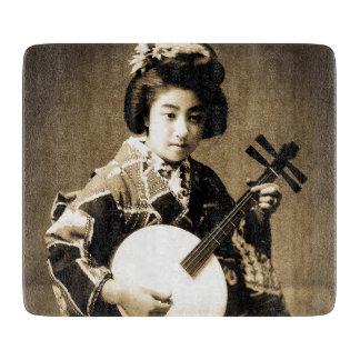 Vintager Sepia tonte den japanischen Geisha, der Schneidebrett