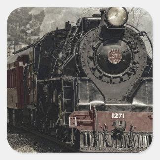 Vintager sich fortbewegender Zug-Aufkleber Quadratischer Aufkleber
