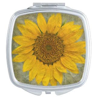 Vintager Sonnenblume-Vertrags-Spiegel Taschenspiegel
