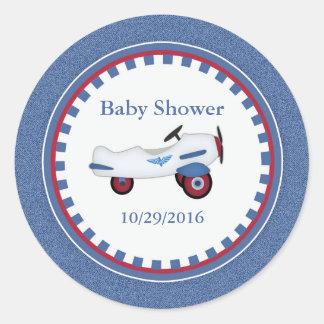 Vintager Spielzeug-Flugzeug-Baby-Duschen-Aufkleber Runder Aufkleber