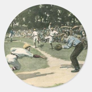 Vintager Sport, Baseball-Spiel Runder Aufkleber